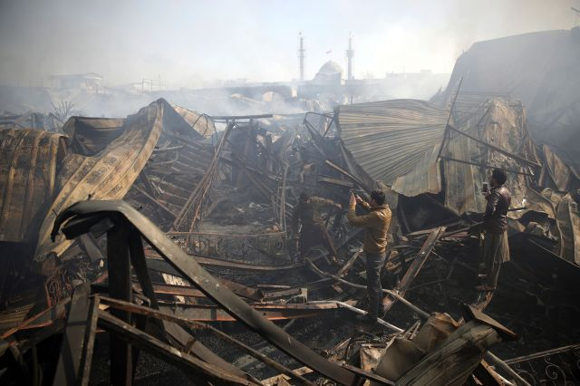 A fire devastated an electronic appliances market in Kabul, Afghanistan on Friday,