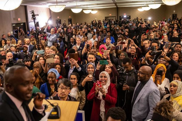 Supporters wait eagerly for the arrival of Ilhan Omar, newly elected to the U.S. House of Representatives,during her el