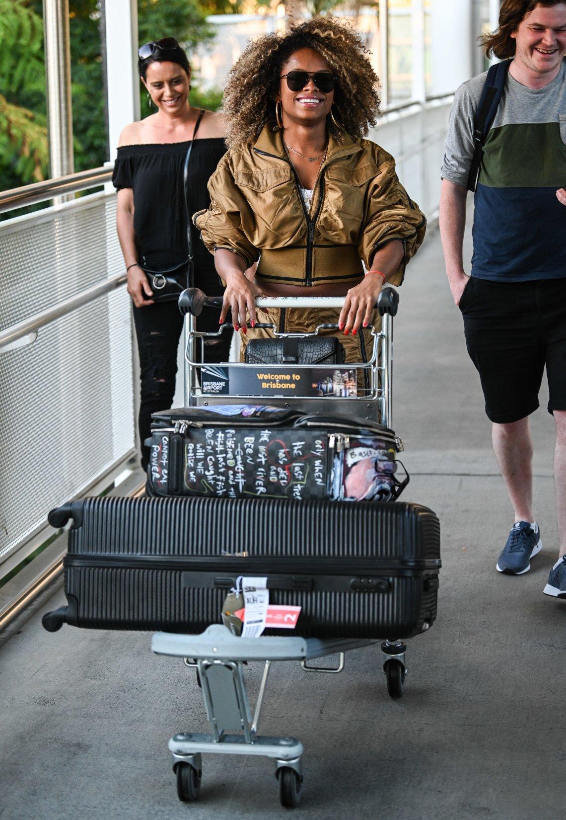 Fleur East at Brisbane airport