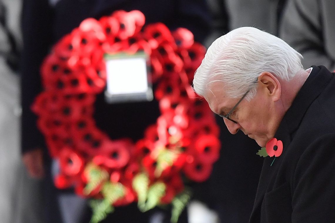 President of Germany, Frank-Walter Steinmeier lays a wreath at the Cenotaph during the Remembrance Sunday ceremony.