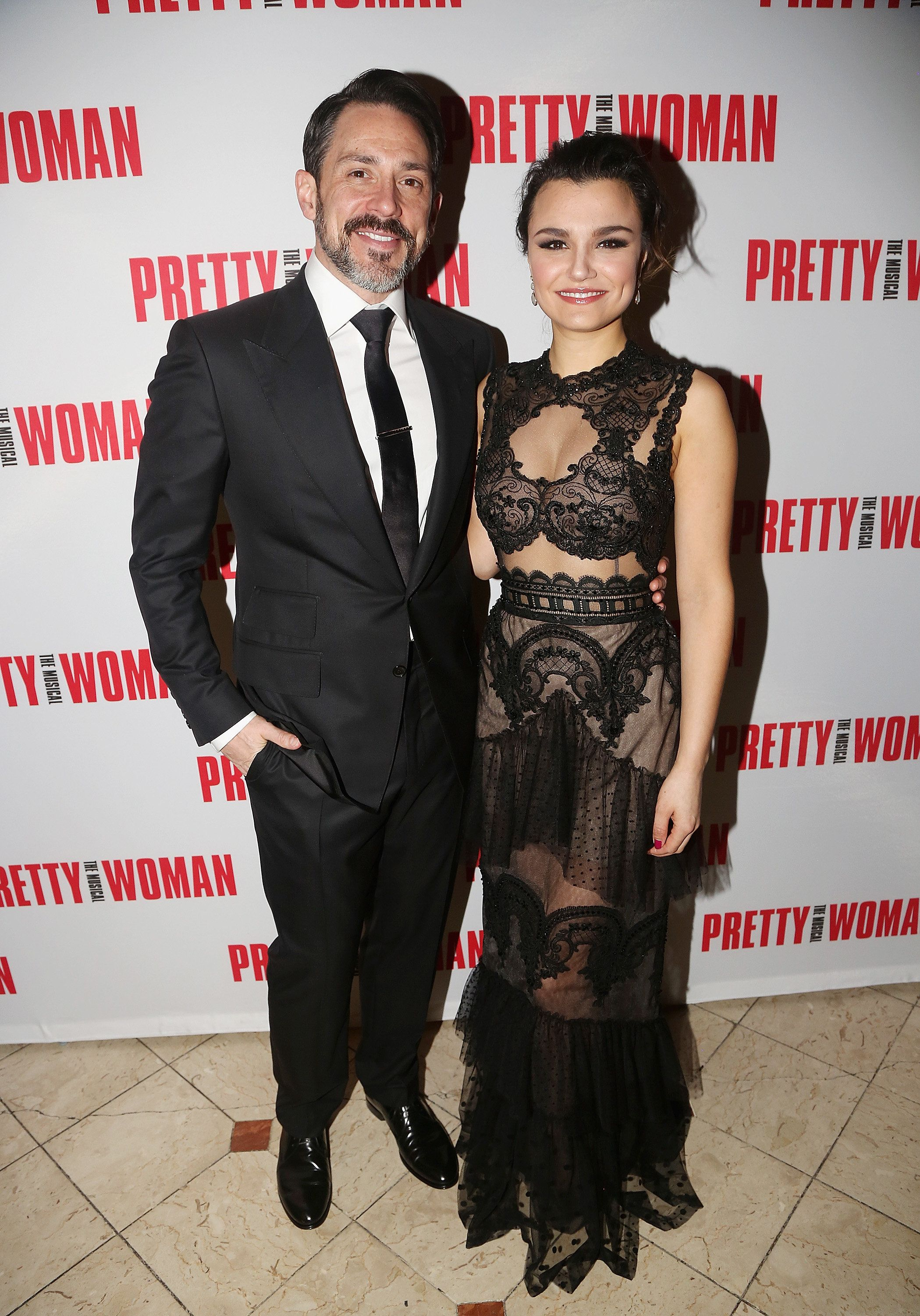 """Steve Kazee and Samantha Barks pose at an opening night party for """"Pretty Woman"""" at Macy's Walnut Room on March 28 in Chicago"""