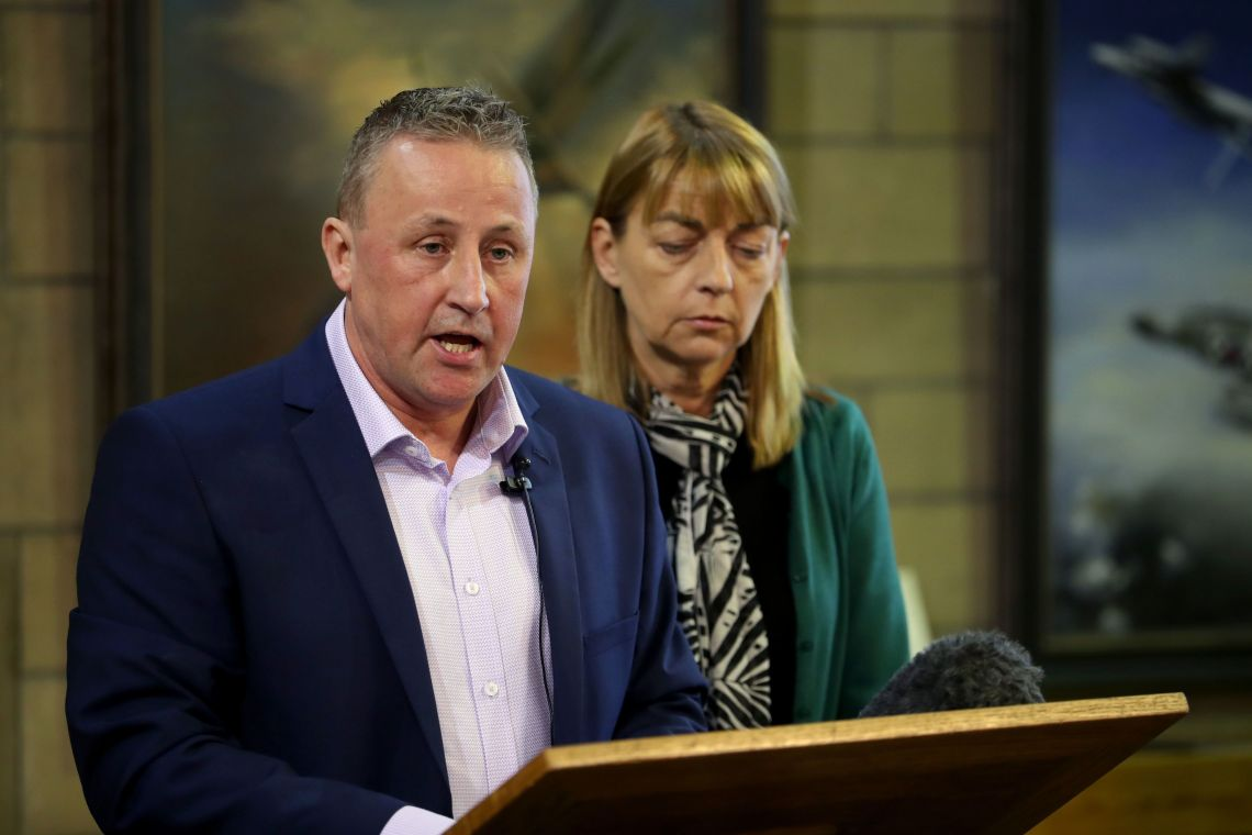 Stuart and Linda Allan, parents of Katie Allan, during a press conference last month at Glasgow University to launch a campaign to reform the way the justice system deals with mental health.