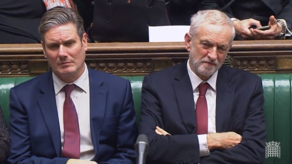 Shadow Brexit Secretary Keir Starmer and Jeremy Corbyn