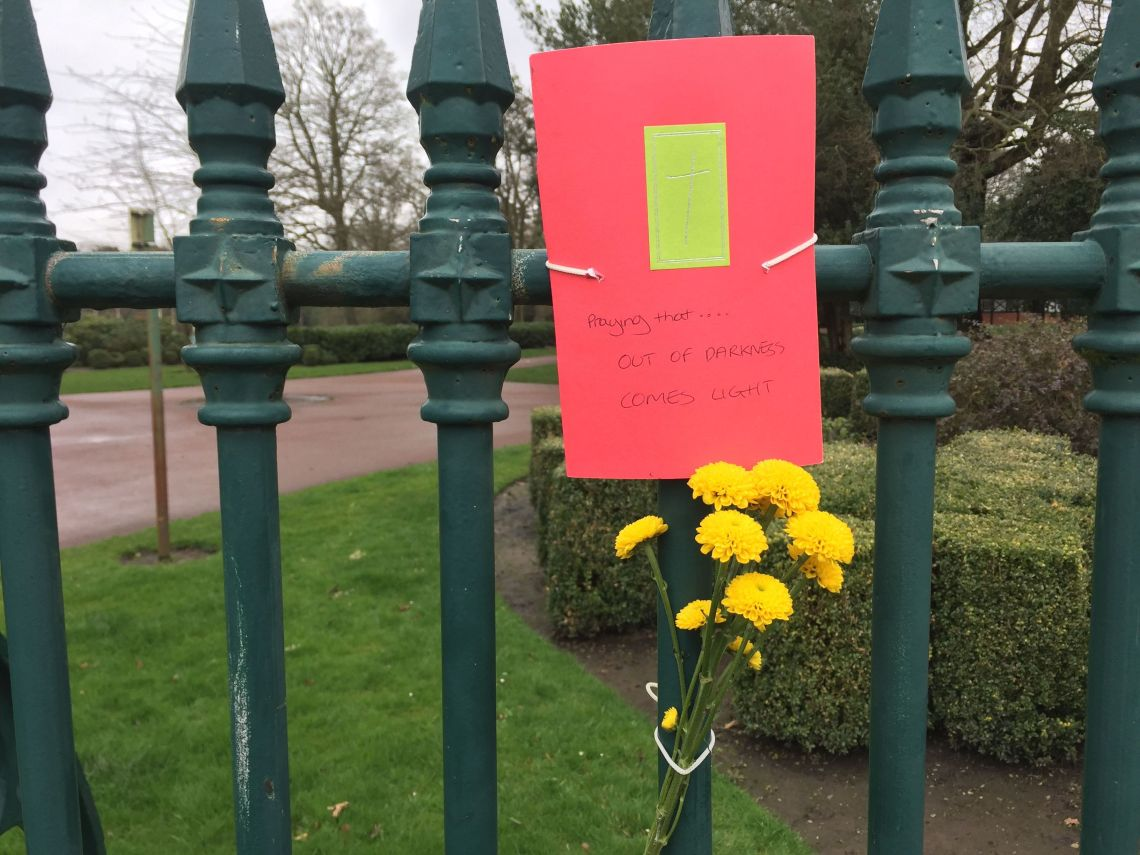 Flowers placed at the scene following the discovery of Sokolova's body