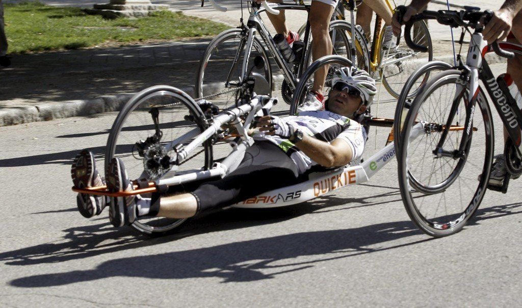 A disabled cyclist pictured during a trip from London to Tokyo (file photo).