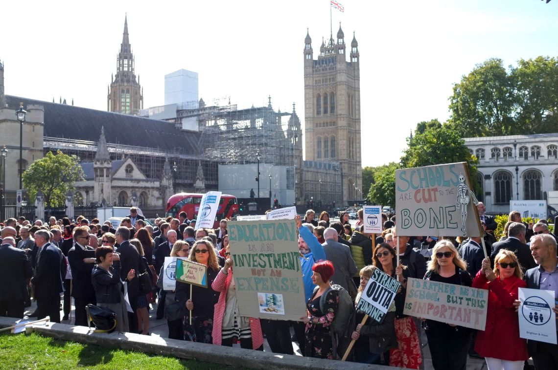 Head teachers march on Parliament to ask for an end to school cuts