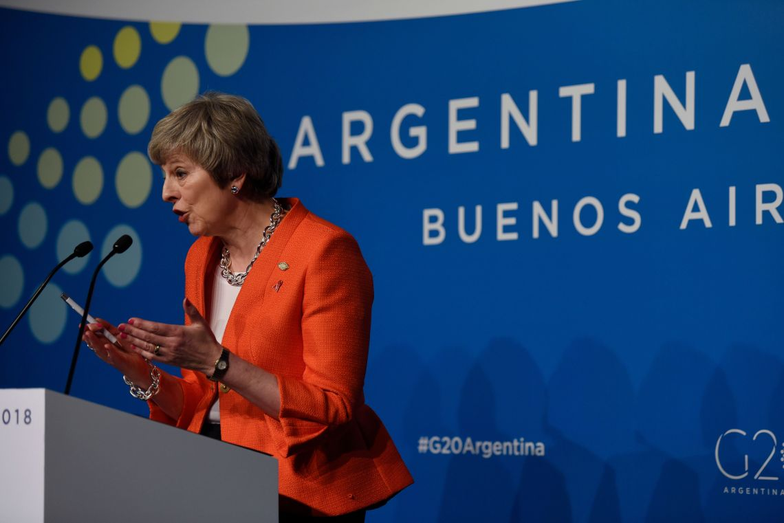 Theresa May speaking at the G20 summit on Saturday.