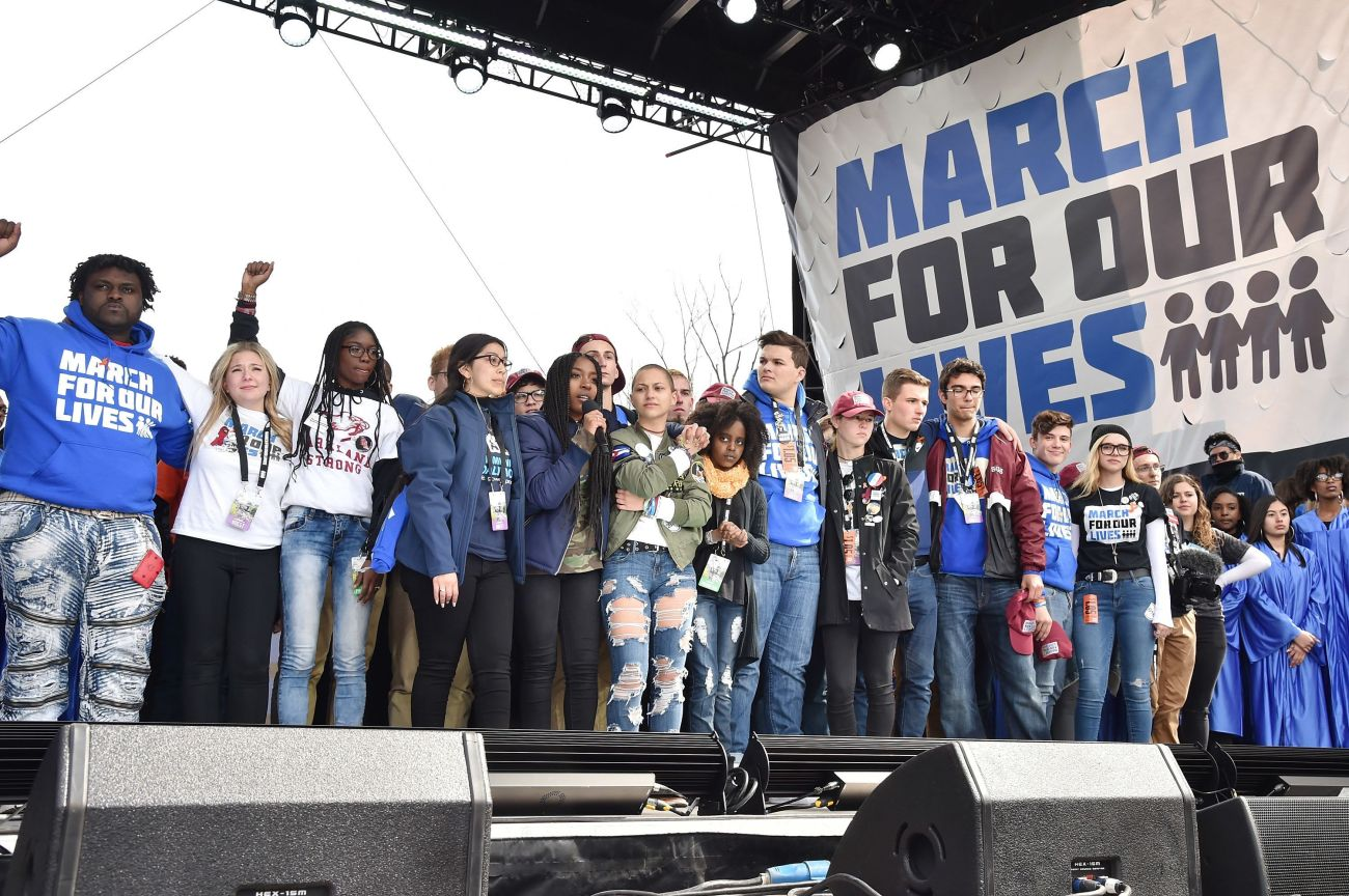 "Student organizers address the crowd at the March For Our Lives rally in Washington, D.C. The movement has helped ""recti"