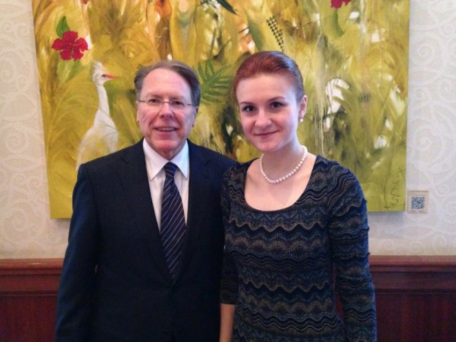 Convicted Russian agent Maria Butina is seen with NRA executive vice president Wayne LaPierre in 2014. The NRA remains u