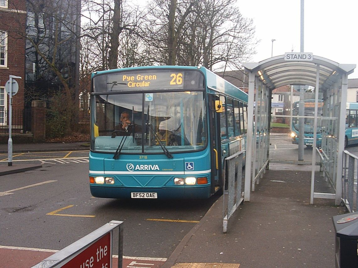 An Arriva bus at Cannock bus station. The town no longer has a Sunday bus service because of council cuts.