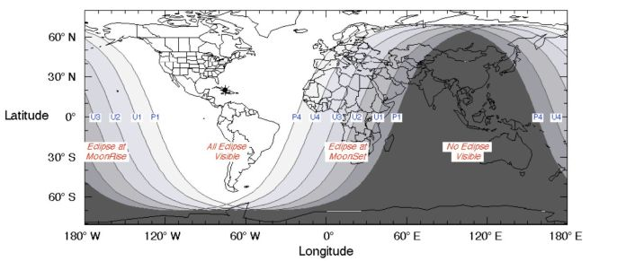 A NASA graph shows the regions of the world where the total lunar eclipse of Jan. 20-21 will be most visible.