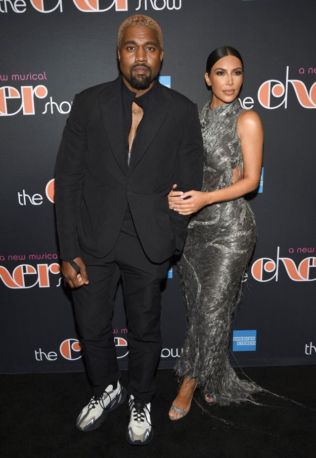 """Kanye West and Kim Kardashian attend the opening night of """"The Cher Show"""" in December."""