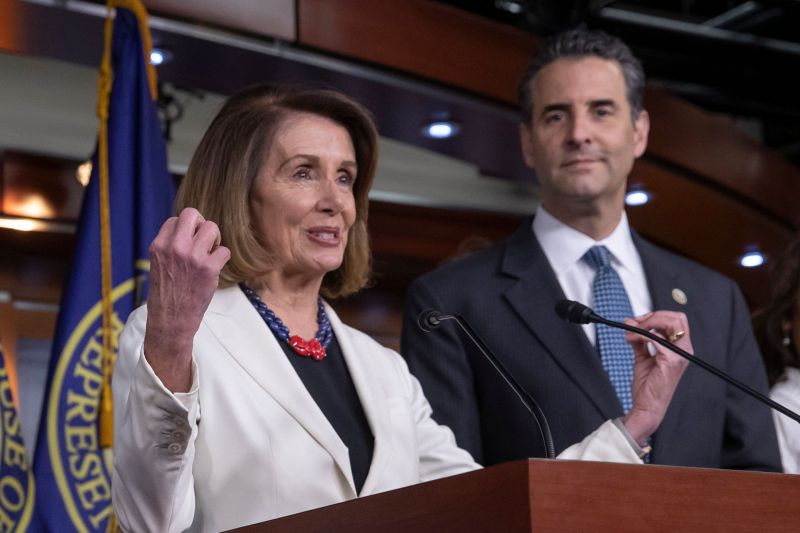 Speaker Nancy Pelosi (D-Calif.) and Rep. John Sarbanes (D-Md.) discuss the For the People Act at a news conference on Nov. 18