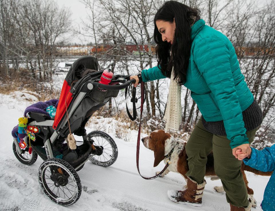 Nina Kouprianova walks with her children in Whitefish, Montana.