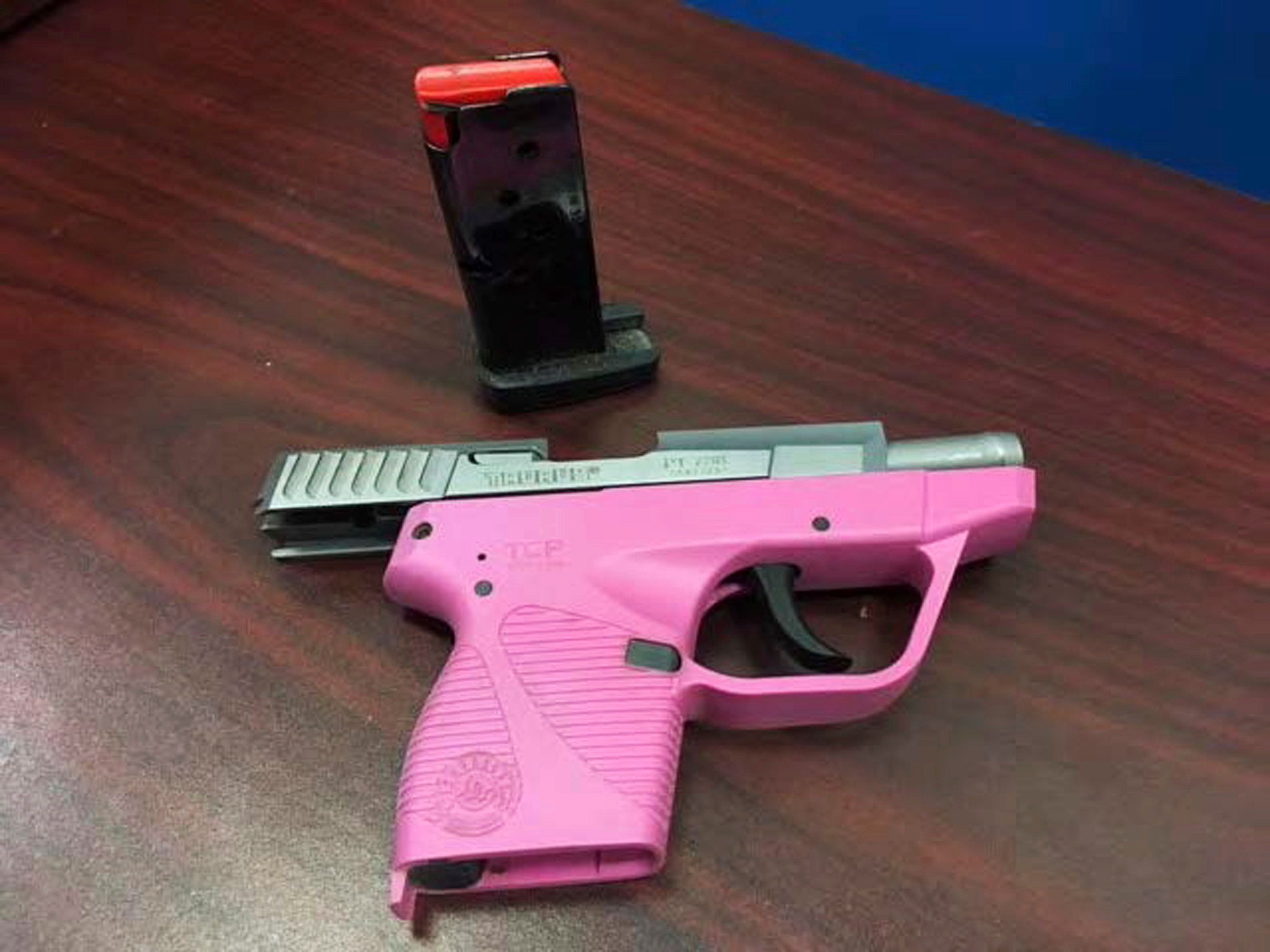 One of 30 guns confiscated at Hartsfield Jackson Atlanta International Airport security checkpoints in May is pictured. The c