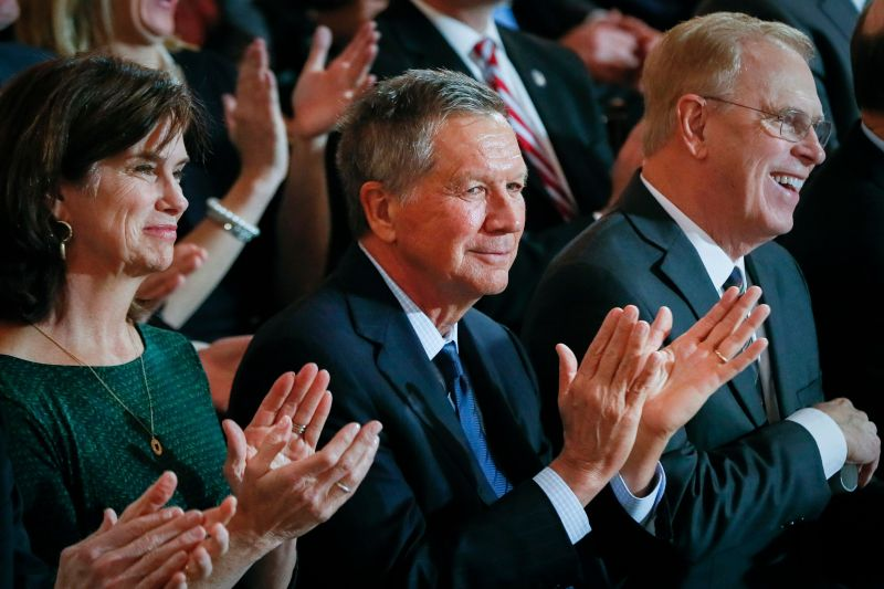 Former Ohio Gov. John Kasich, center, is seen as a possible challenger to Trump in the 2020 Republican primary.