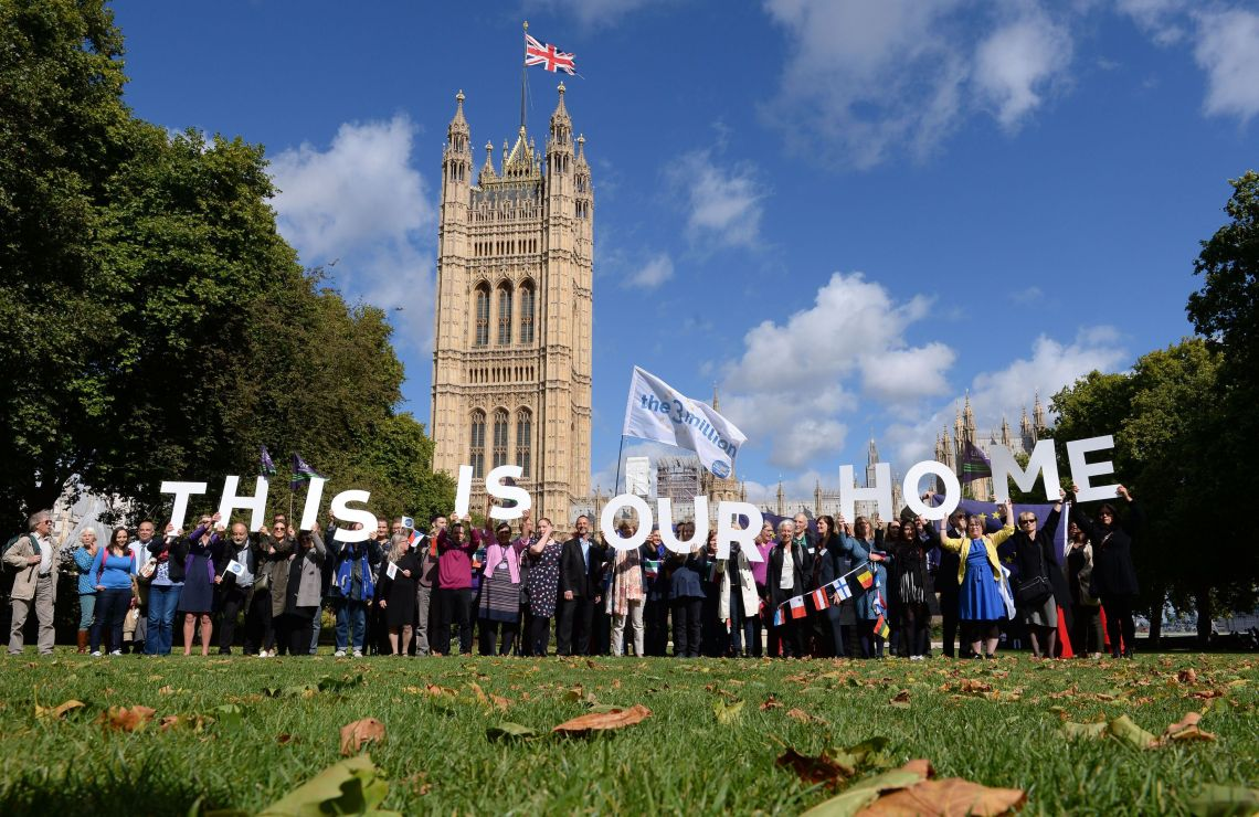 EU citizens in a protest outside the Houses of Parliament in 2017