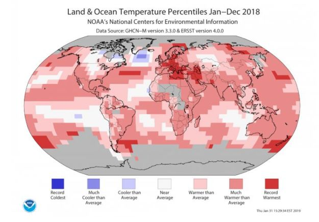A map from the NASA and NOAA report shows surging temperatures around the globe.