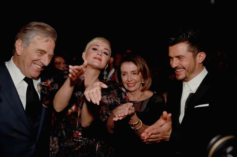 House Speaker Nancy Pelosi (D-Calif.) recreates her signature clap with Katy Perry and Orlando Bloom.