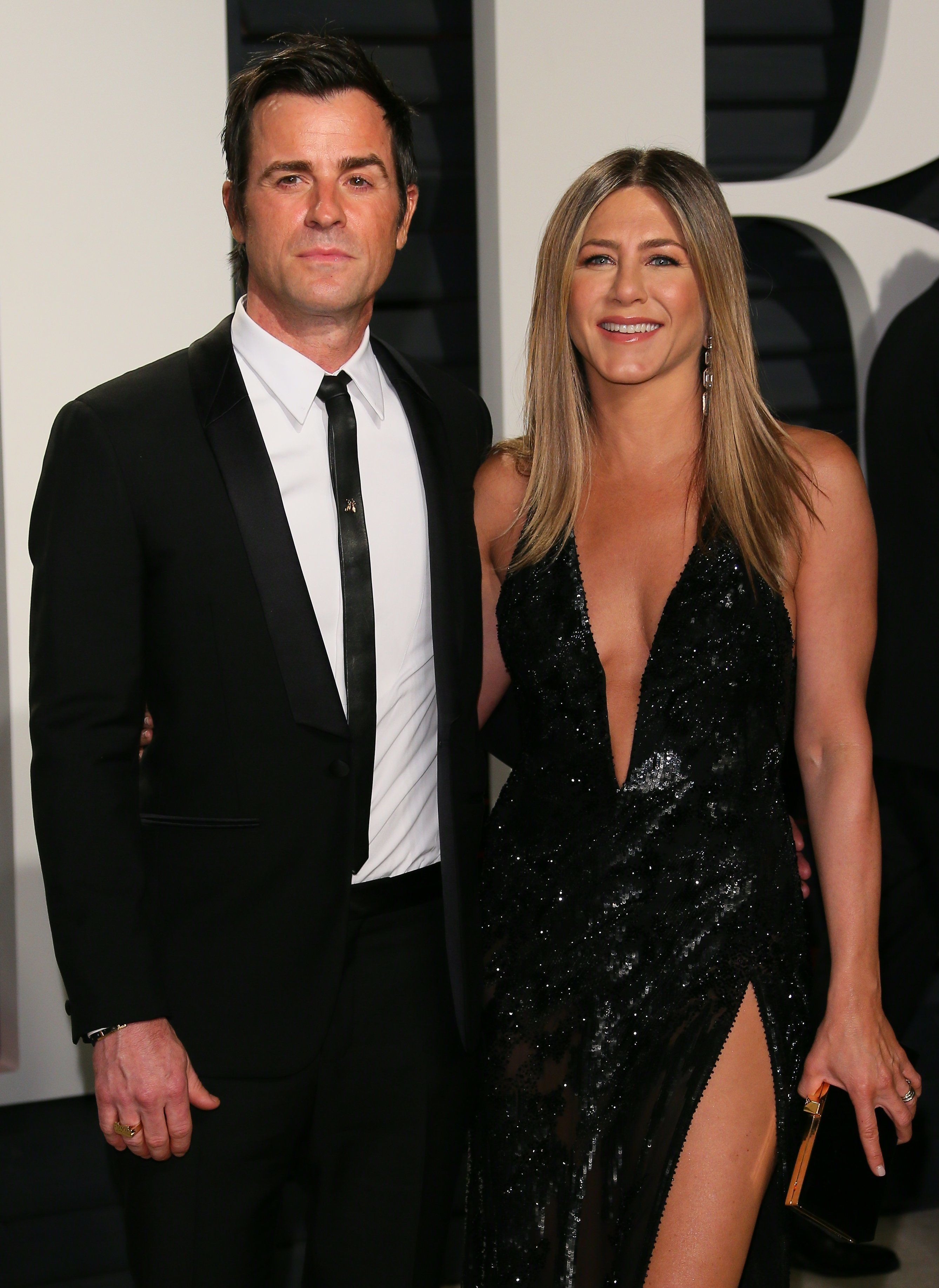Justin Theroux and Jennifer Aniston at the Vanity Fair Oscars party in 2017.