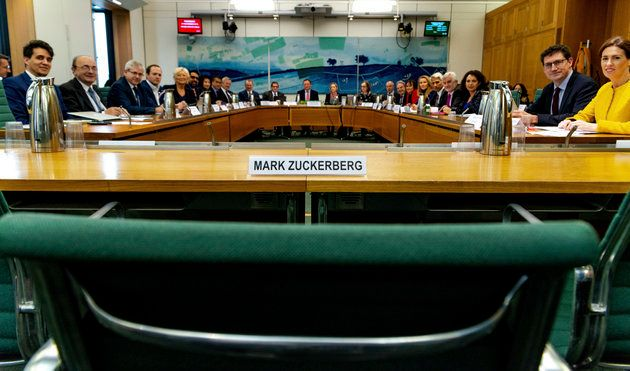 Members of the British Parliament left an empty chair for Mark Zuckerberg
