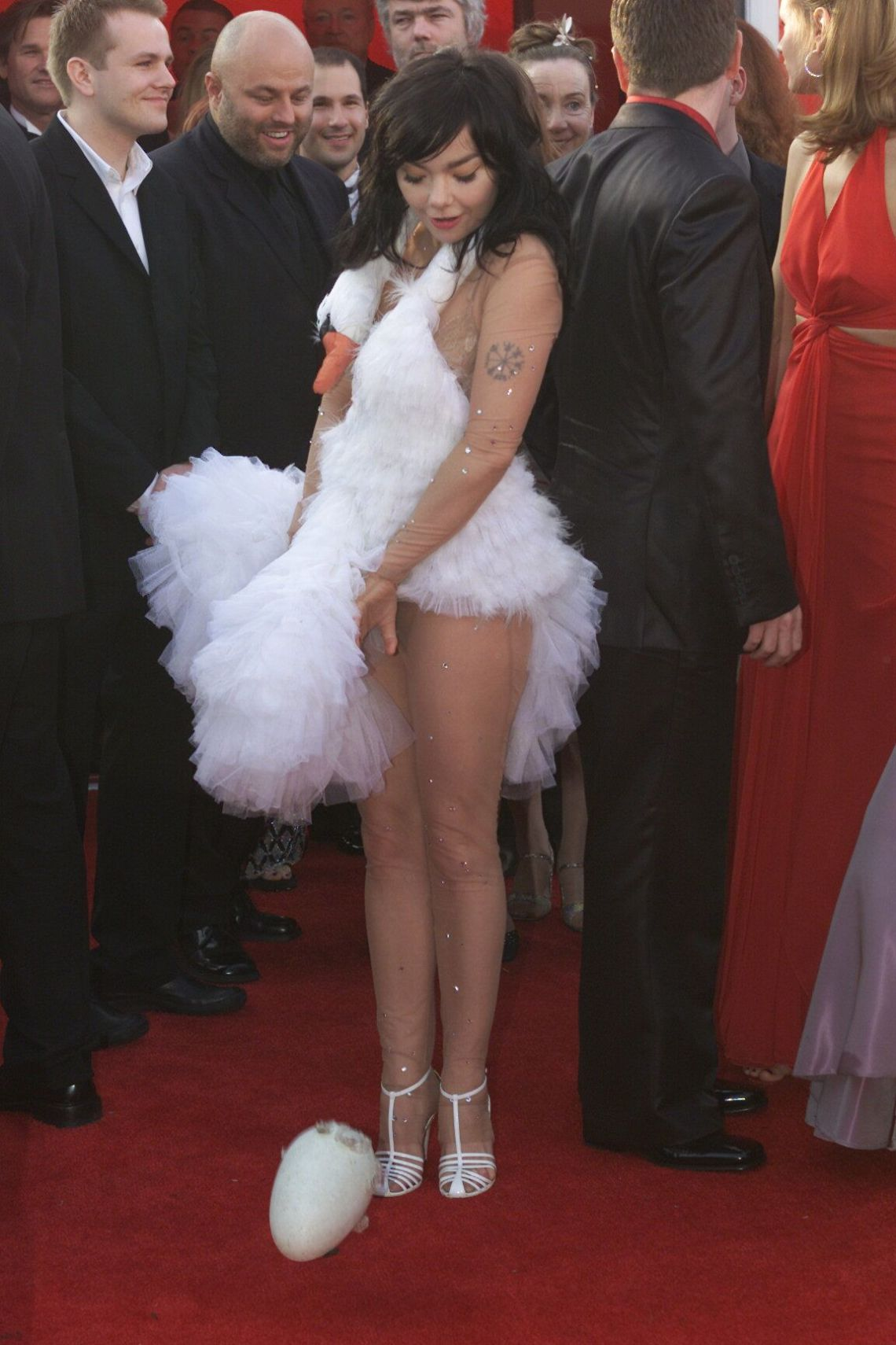 Well, she was never going to pass by unnoticed, was she?Björk was nominated for her first Oscar in 2001, for her contribution to the Dancer In The Dark soundtrack, and made headlines for her swan-inspired dress, which included dropping eggs along the red carpet.