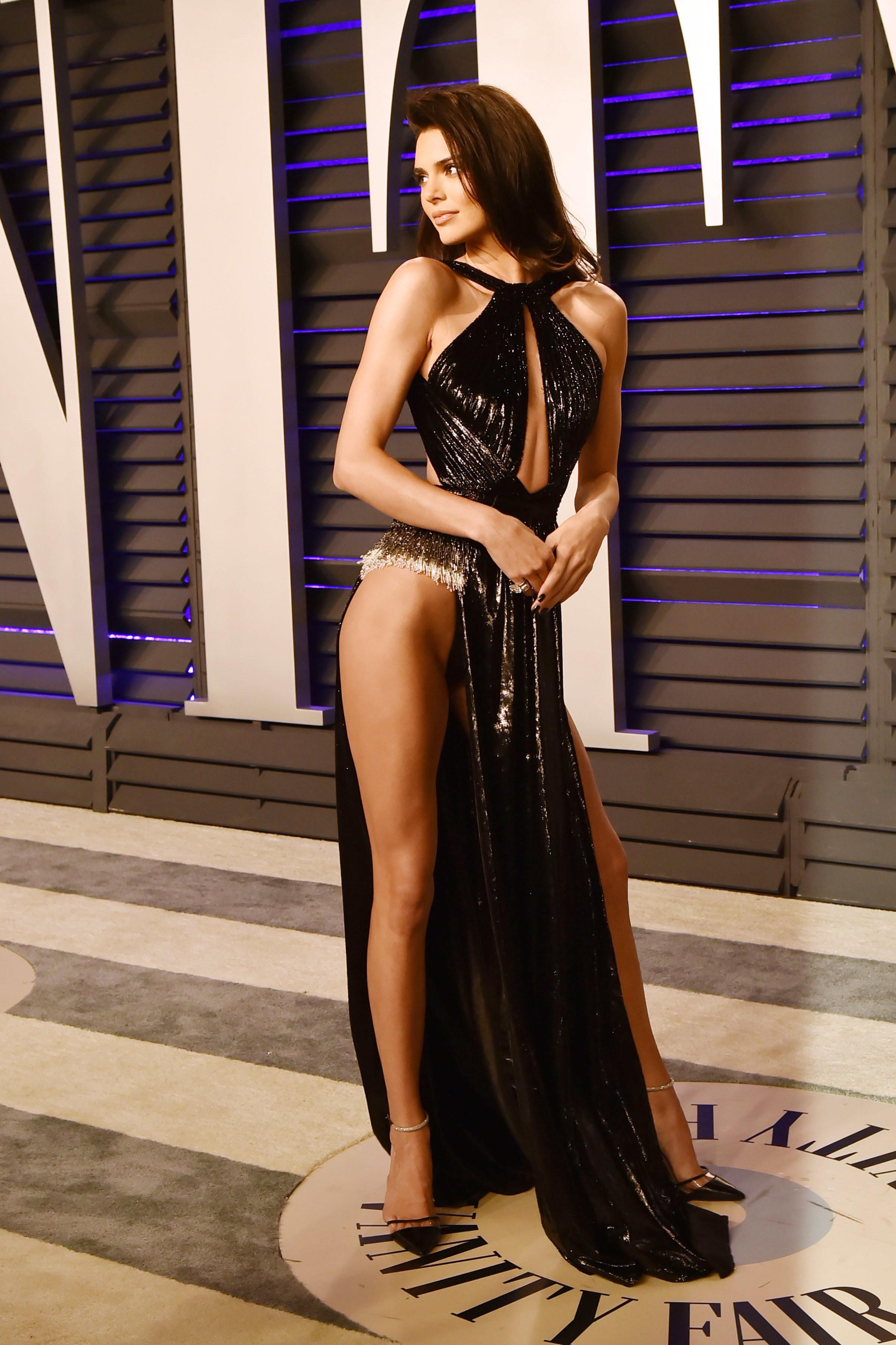 Jenner wore a black velvet halter dress by Rami Kadi Maison de Couture.