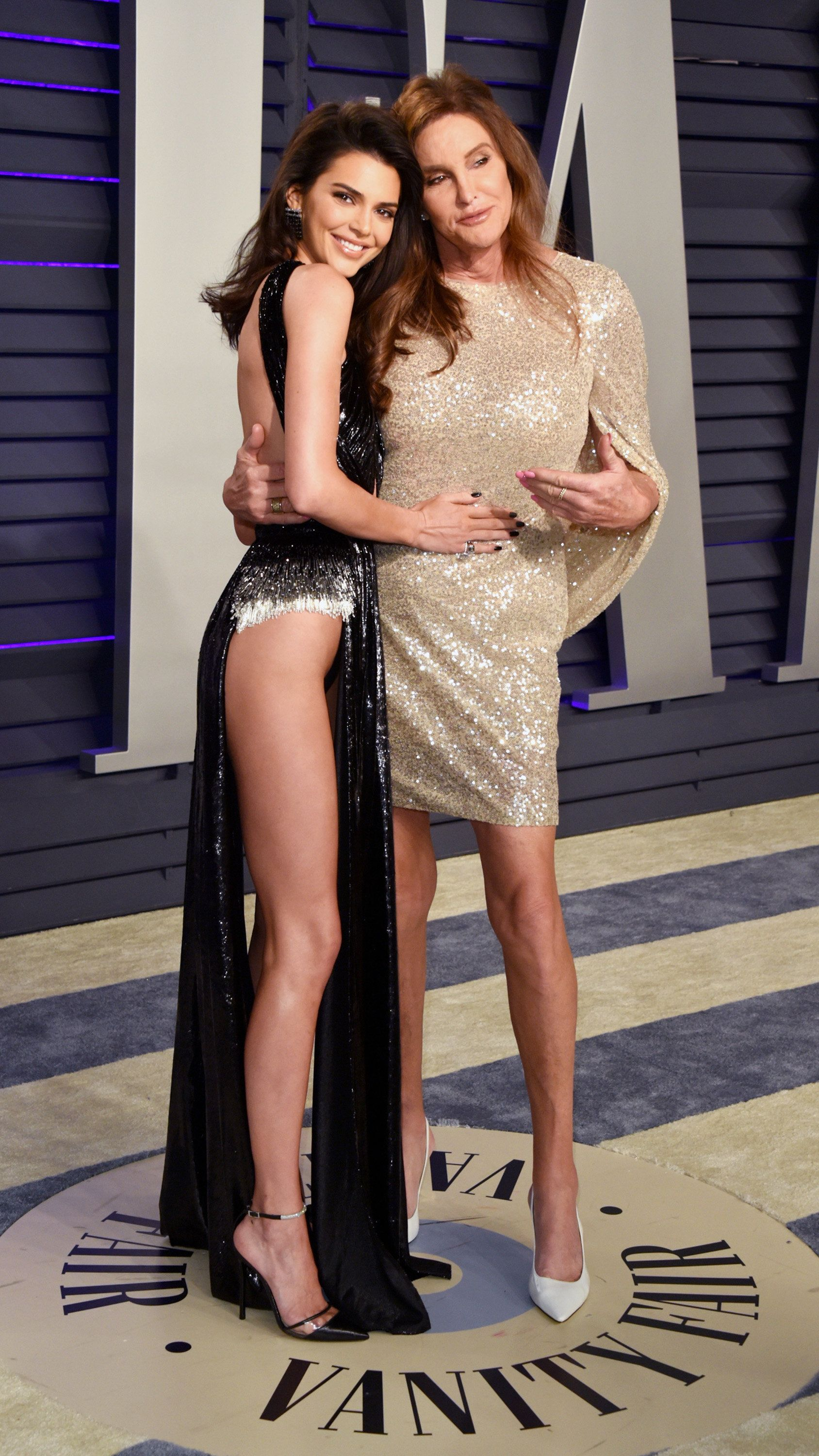 Kendall and Caitlyn Jenner on theVanity Fair party's red carpet.