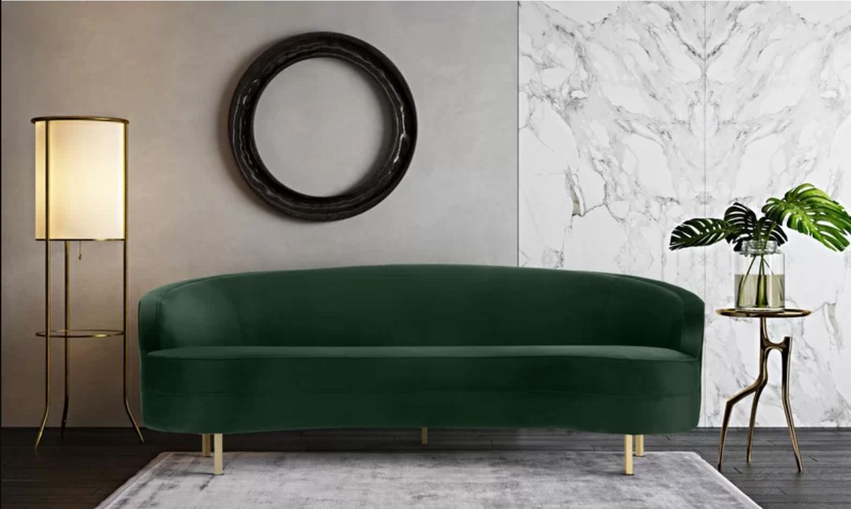 emerald green couch on any budget