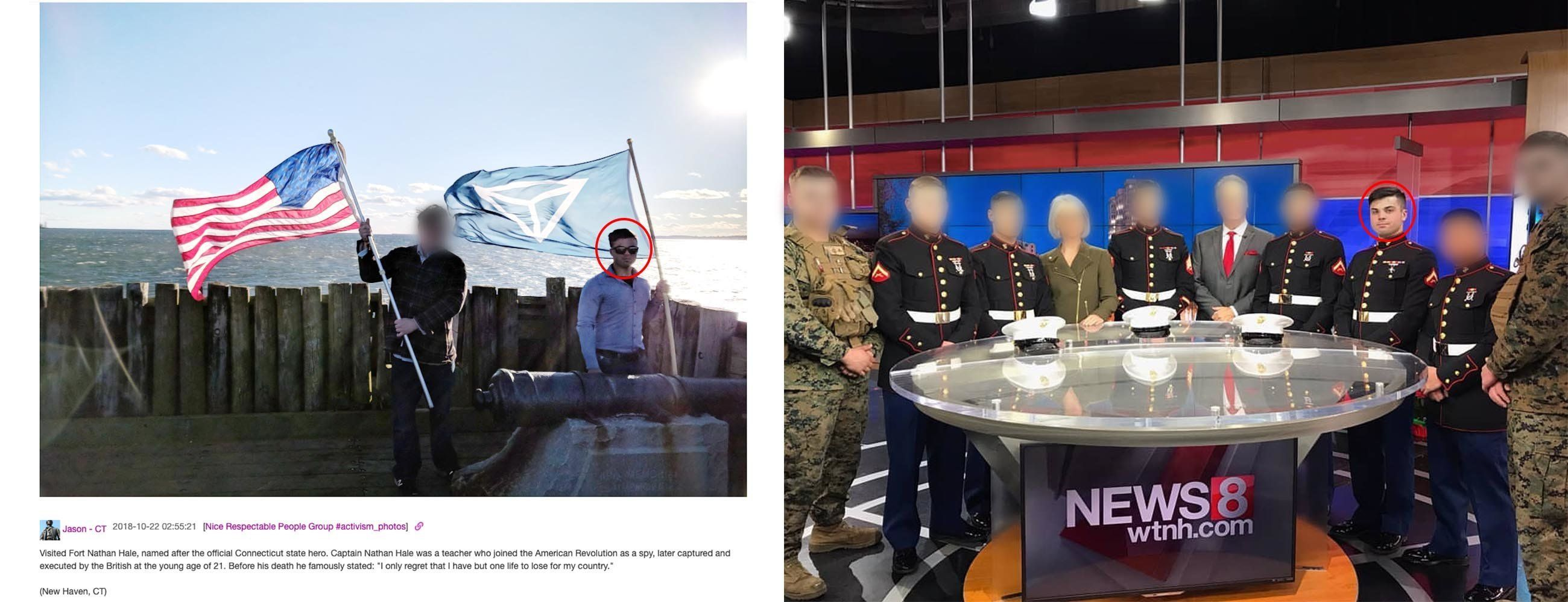Jason Laguardia posted on the Discord server an image of himself waving an Identity Evropa flag (left). He visited a New