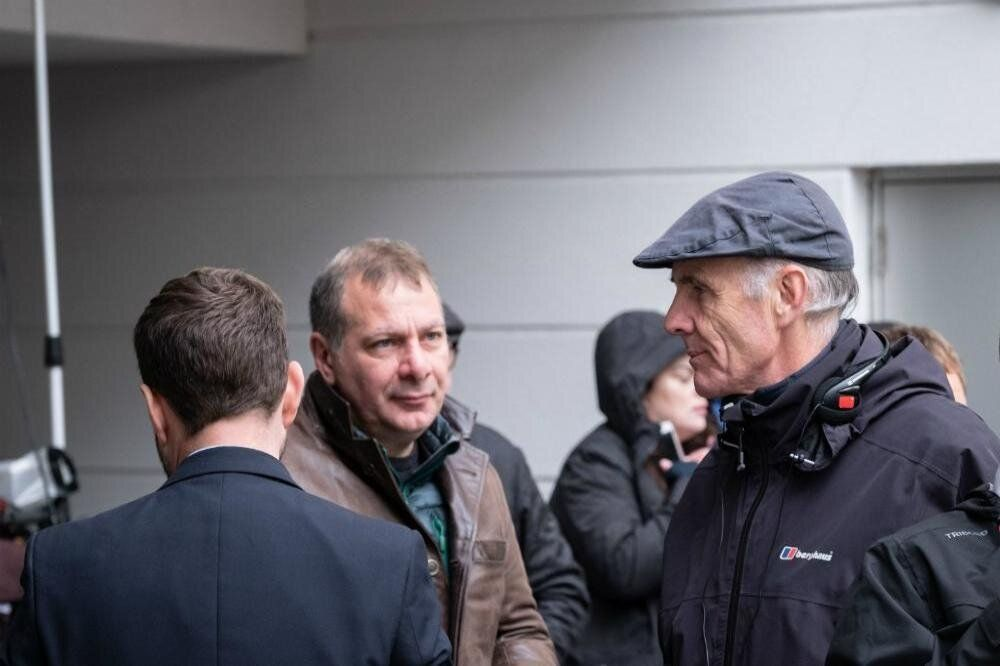Jed Mercurio (middle) on set during filming of series