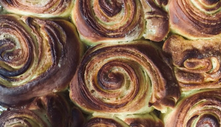 Taria Camerino infused CBD into these brioche rolls with tahini and turmeric.