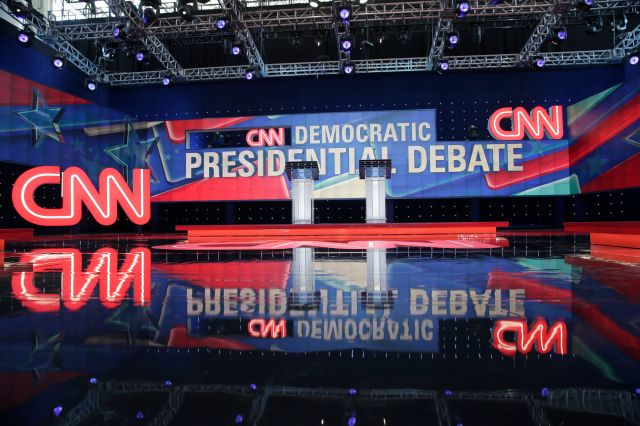 The stage for the CNN Democratic presidential primary debate between Sen. Bernie Sanders (I-Vt.) and Hillary Clinton, in Broo