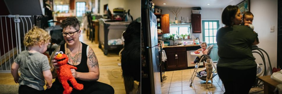 Left: Des plays with their son, August Garcia-Stage, at their home on June 20, 2019. Right:Gus eats lunch while Fel holds their daughter, Theodora Garcia-Stage.