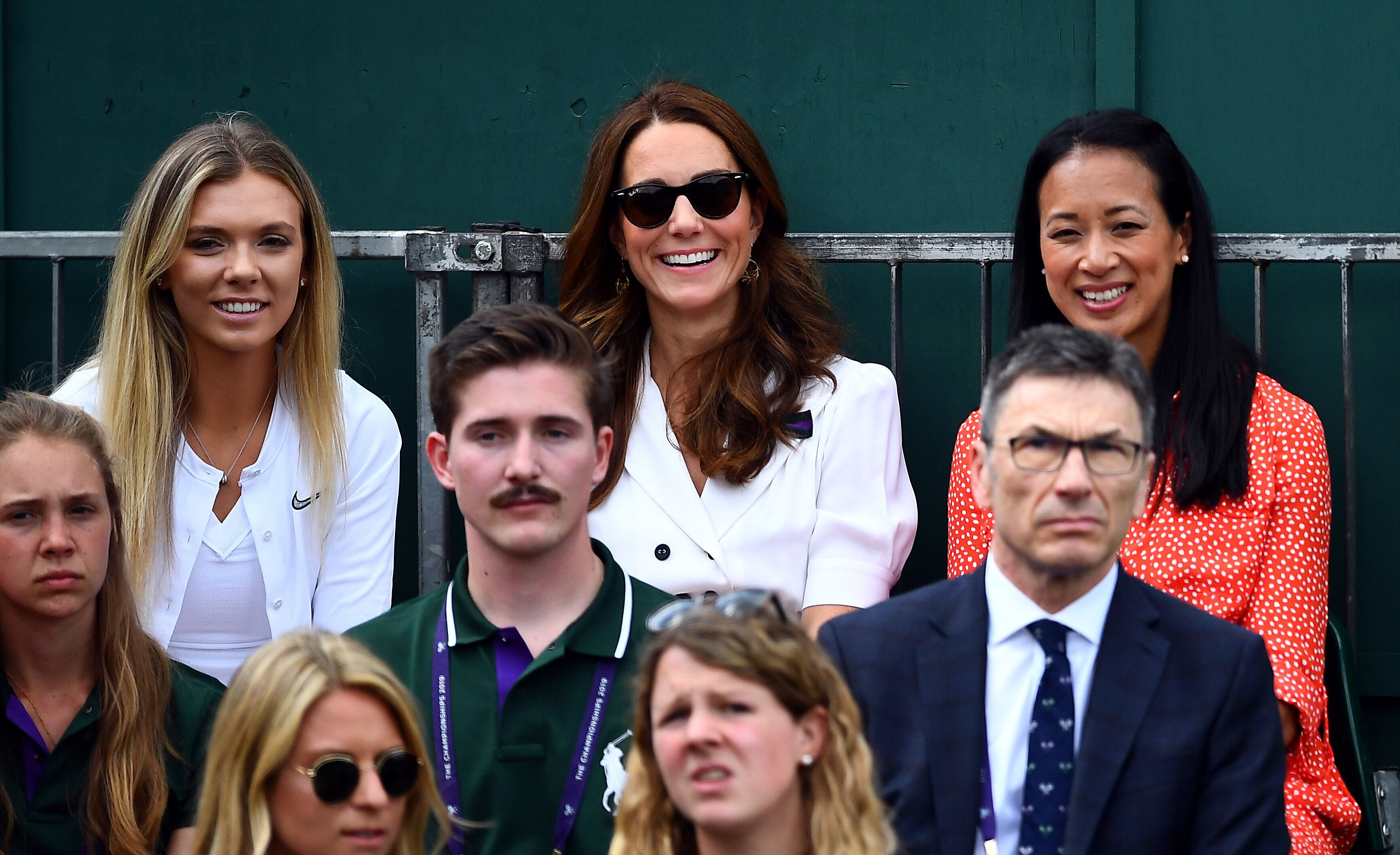 The Duchess of Cambridge with British tennis player Katie Boulter (left) and retired British tennis player Anne Keothavong (r