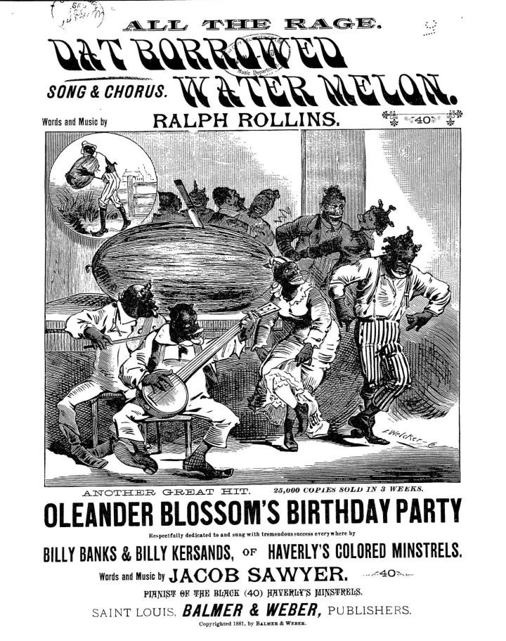 """The sheet music for an 1881 song called """"Dat Borrowed Watermelon"""" depicts the """"happy darkie concept of a person who just loves watermelon,"""" as Williams-Forson explains it."""