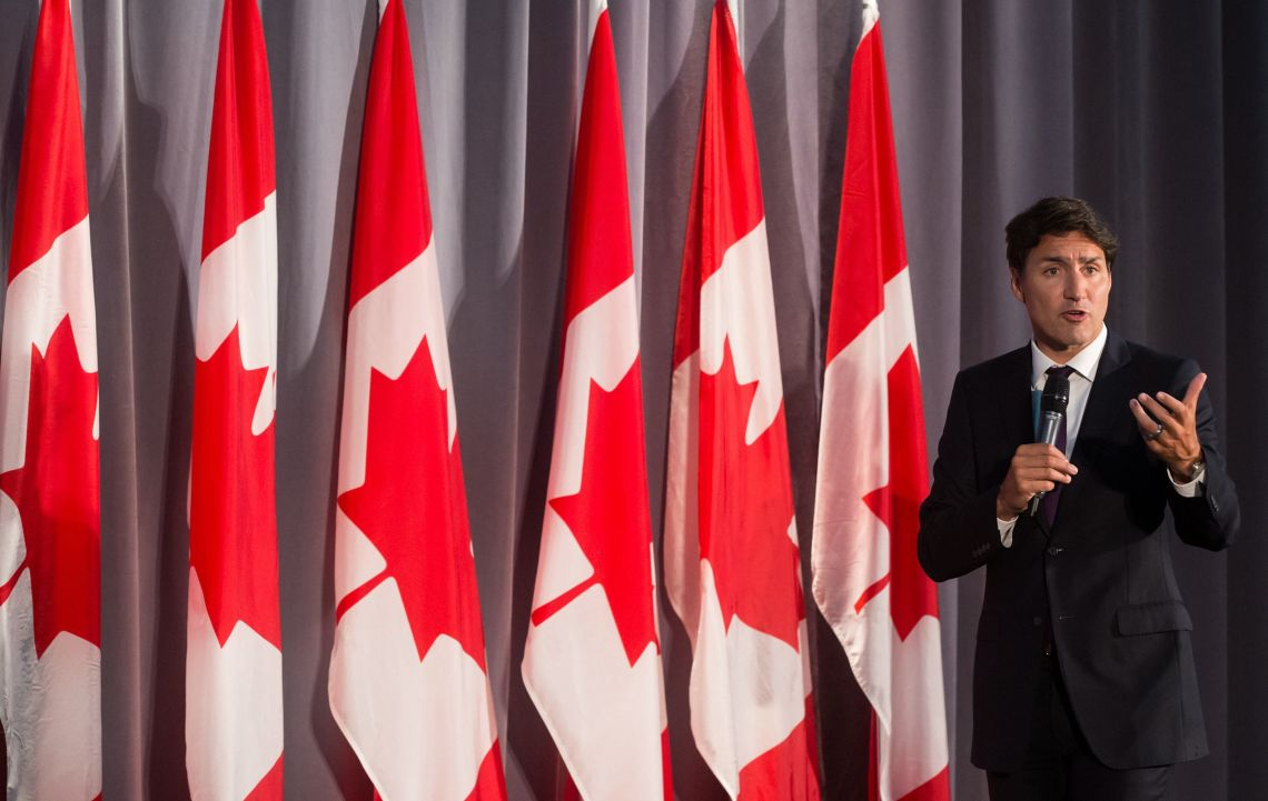 Prime Minister Justin Trudeau addresses supporters during a Liberal Party fundraiser in Surrey, B.C....