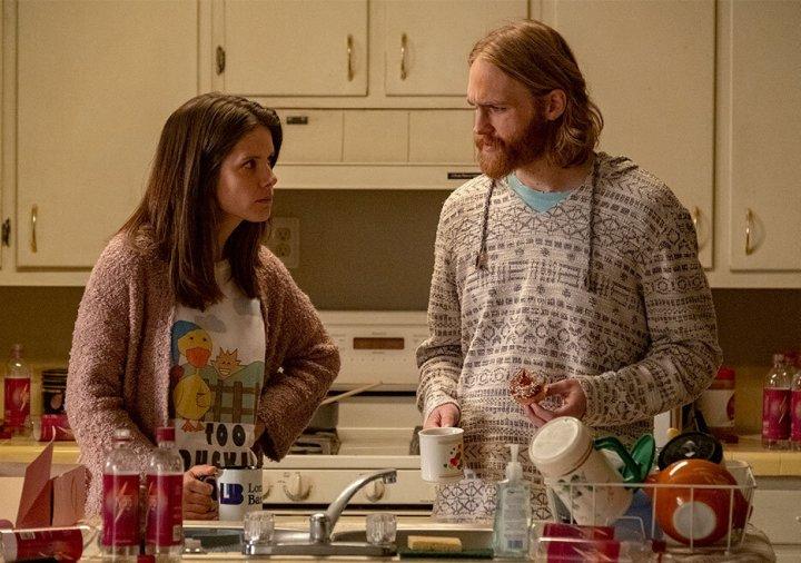 """Sonya Cassidy as Liz Dudley, Wyatt Russell as Sean """"Dud"""" Dudley."""