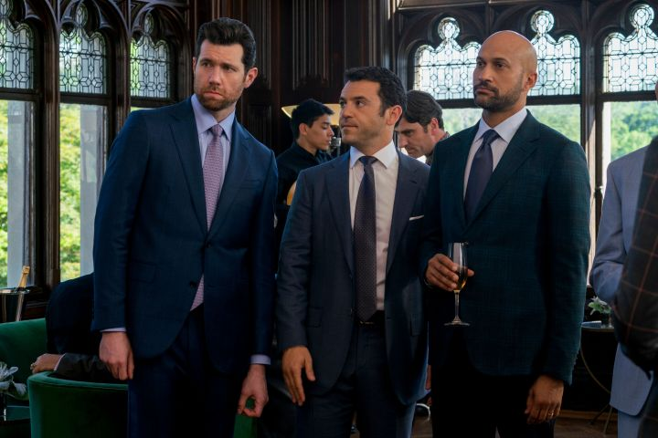 "Billy Eichner, Fred Savage and Keegan-Michael Key in ""Friends From College."""