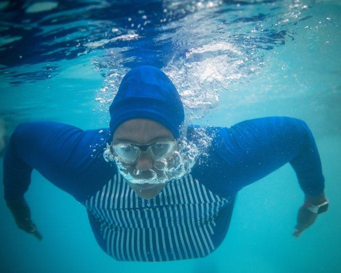 Dananai Morgan swims at the YMCA in Boston on July 2, 2019.