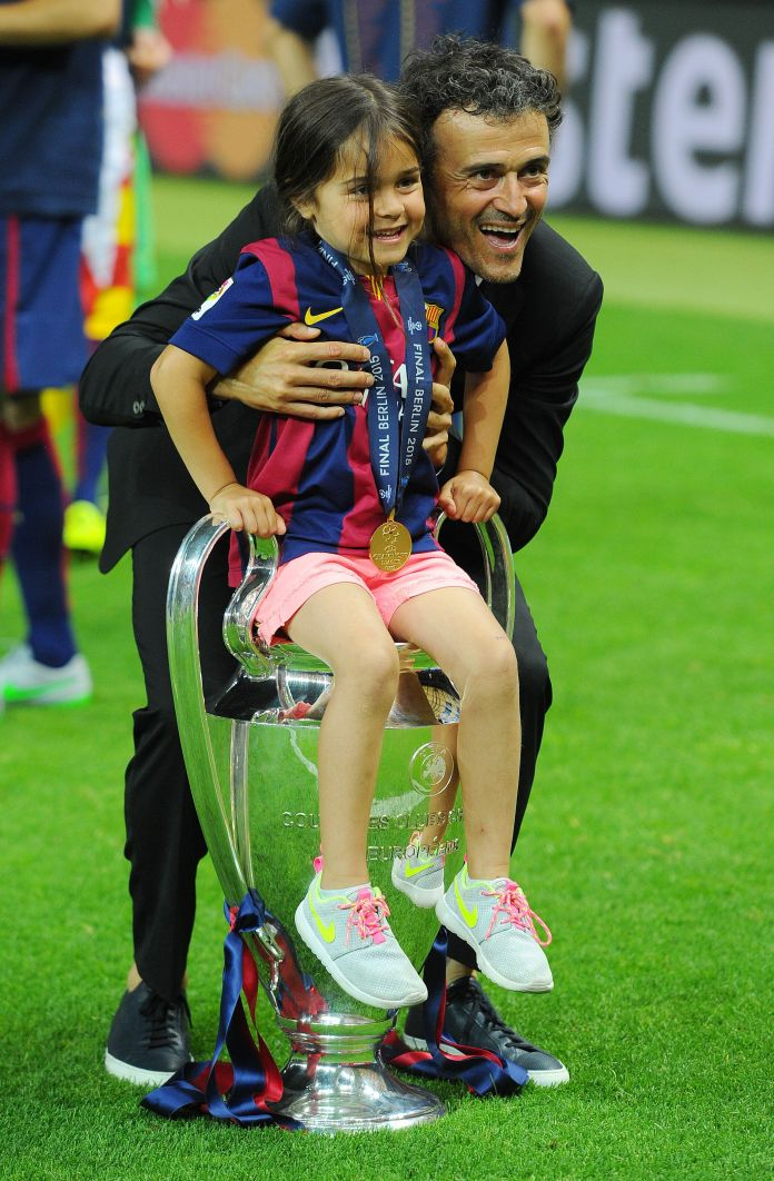 Barcelona Coach Luis Enrique and his daughter Xana Martinez celebrate winning the UEFA Champions League ...