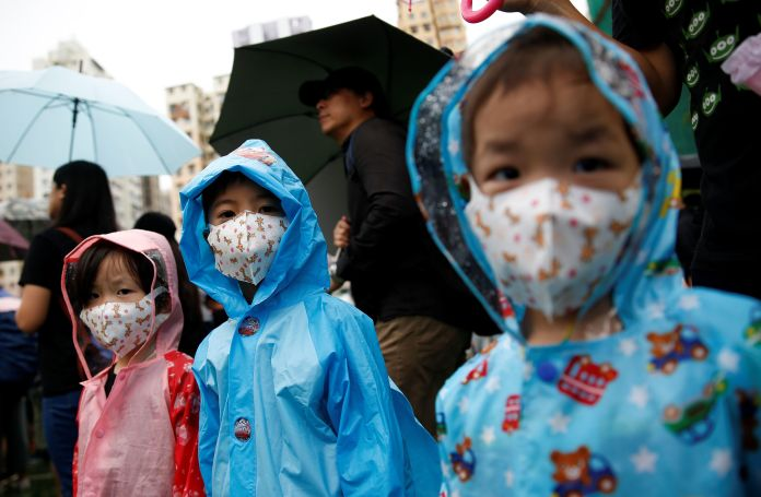 Children taking part in a demonstration in Hong Kong, August 25
