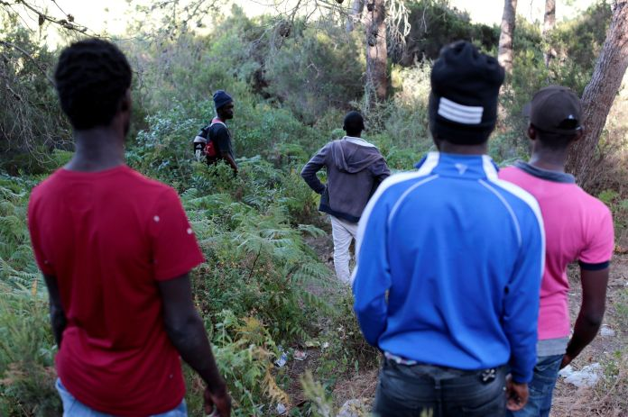African migrants in the mountains near Tangier, June 25