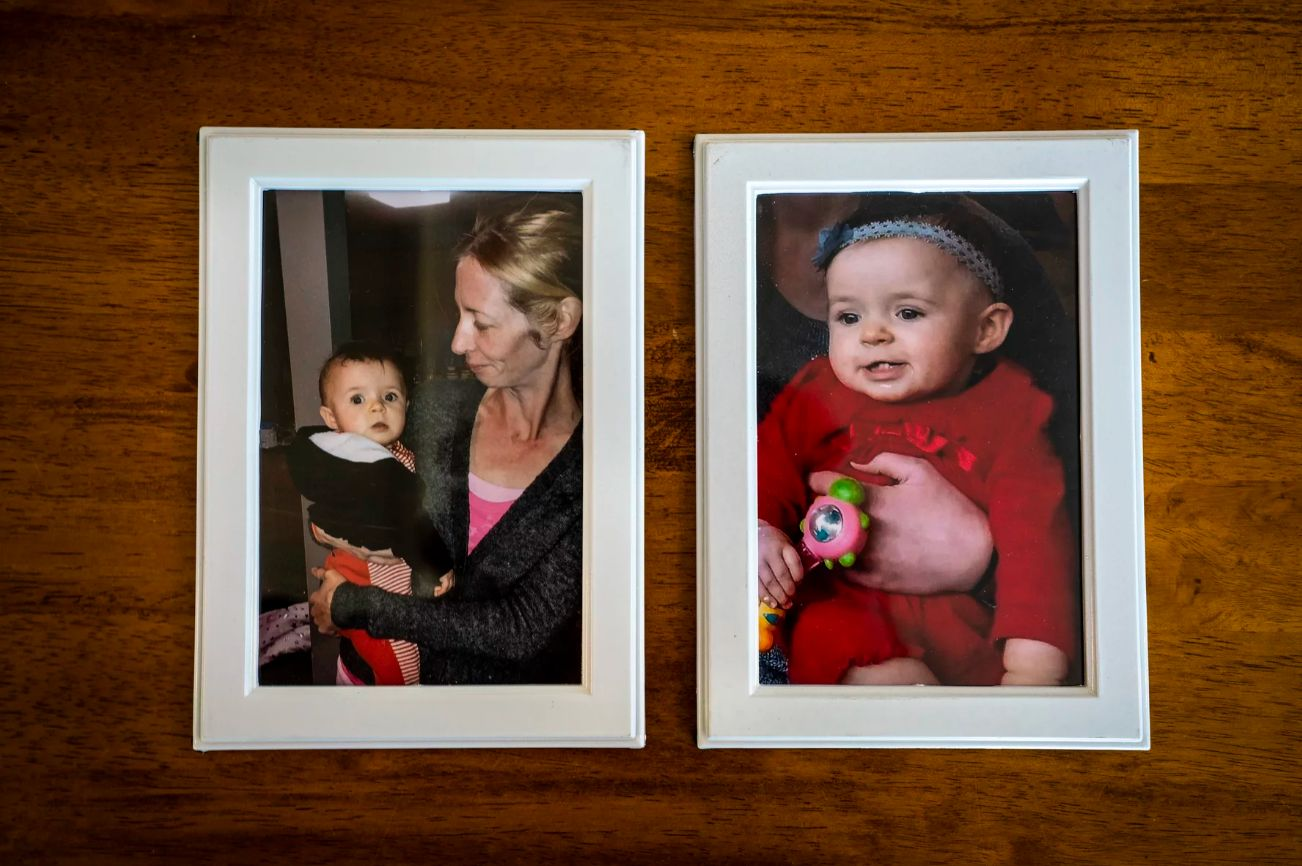 Pictures of Ellen Kennedy with her daughter. At right, Gabrielle Kennedy is 9 months old. (Sarah Rice, special to ProPub