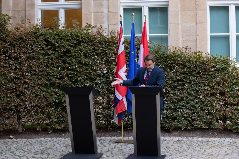 LUXEMBOURG, LUXEMBOURG - SEPTEMBER 16: Luxembourg Prime Minister Xavier Bettel speaks to the media following talks with British Prime Minister Boris Johnson on September 16, 2019 in Luxembourg, Luxembourg. Johnson met with European Commission President Jean-Claude Juncker for a working lunch earlier today. Johnson is pressing forward for a possible hard Brexit, though he has also been meeting with European leaders recently in an apparent effort to still strike a Brexit deal. (Photo by Joshua Sammer/Getty Images)