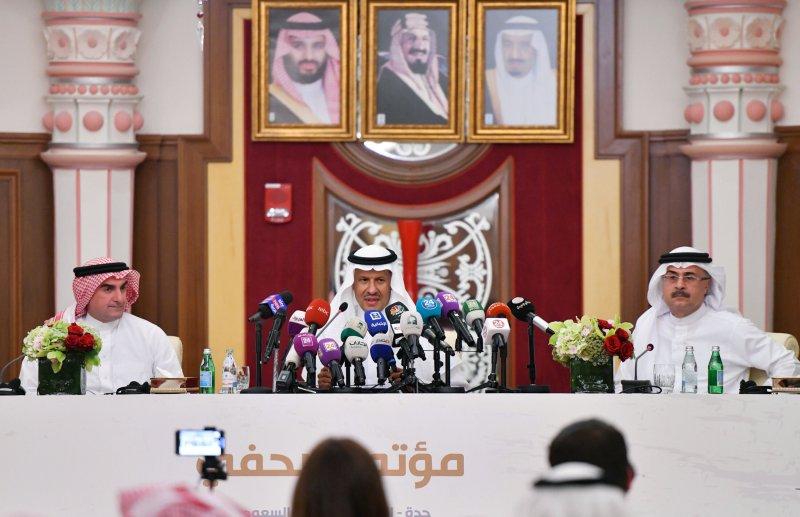 Saudi Energy minister Prince Abdulaziz bin Salman speaks during a news conference in Jeddah, Saudi Arabia September 17, 2019.  REUTERS/Waleed Ali