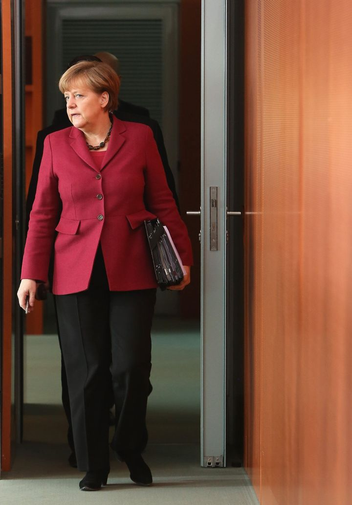 Merkel arrives for a Cabinet meeting on March 18, 2015, in Berlin.