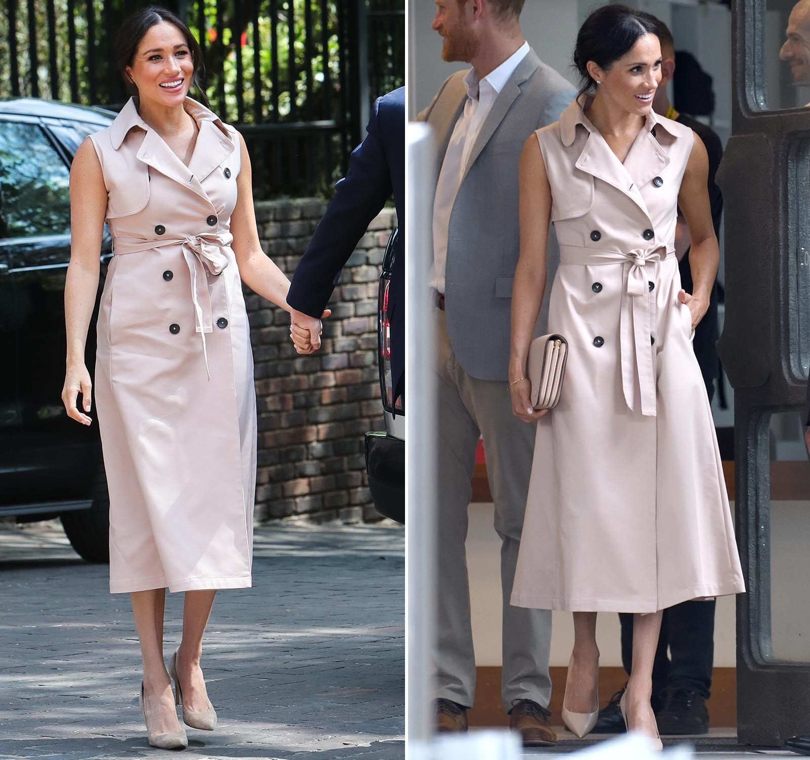 (Left) The Duchess of Sussex arrives to meet Graça Machel, widow of the late Nelson Mandela, on Oct. 2, 2019, in