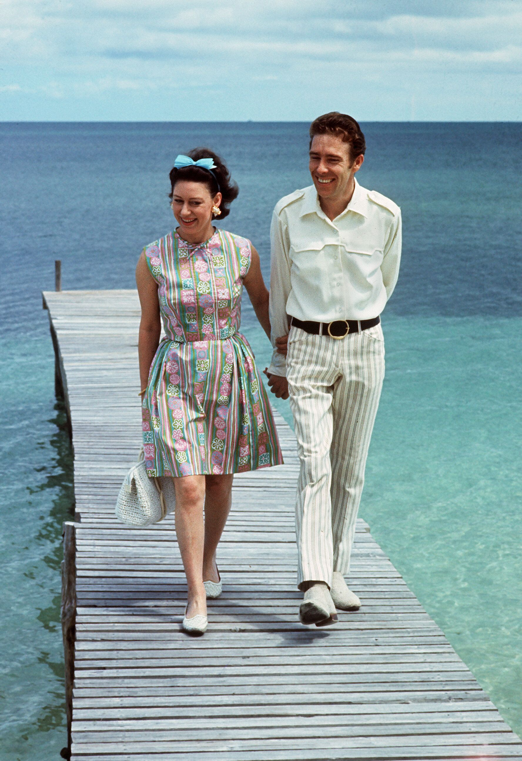 Princess Margaret and her husband, the Earl of Snowdon, in the Bahamas in 1967.