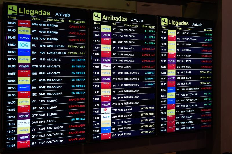 BARCELONA, SPAIN - OCTOBER 14: A flight info screen is seen at the Barcelona Airport as thousands of protestors block the access in a protest following the sentencing of nine Catalan separatist leaders on October 14, 2019 in Barcelona, Spain. Spain's Supreme Court has sentenced nine Catalan separatist leaders to between nine and 13 years in prison over their role in the 2017 Catalan independence referendum. (Photo by Alex Caparros/Getty Images)
